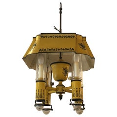 Delightful French Iron and Tole Painted 4-Arm Chandelier