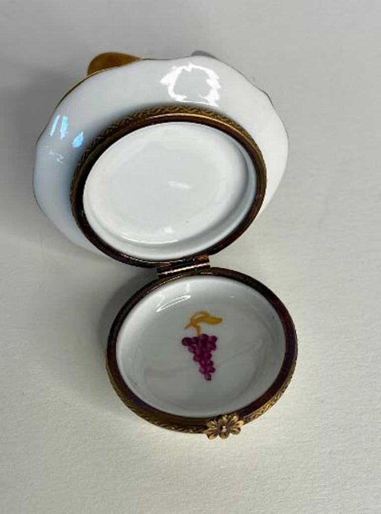 Delightful Limoges France Hand Painted Vin De Paris Wine Pitcher Porcelain Box For Sale 3