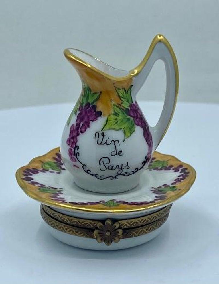 Delightful Limoges France Hand Painted Vin De Paris Wine Pitcher Porcelain Box For Sale 4