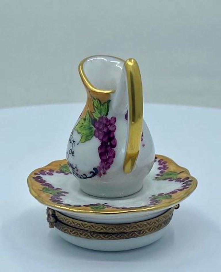 French Delightful Limoges France Hand Painted Vin De Paris Wine Pitcher Porcelain Box For Sale
