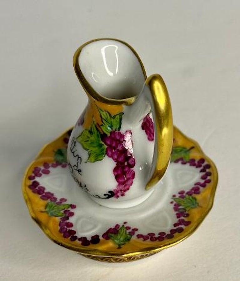 Hand-Painted Delightful Limoges France Hand Painted Vin De Paris Wine Pitcher Porcelain Box For Sale