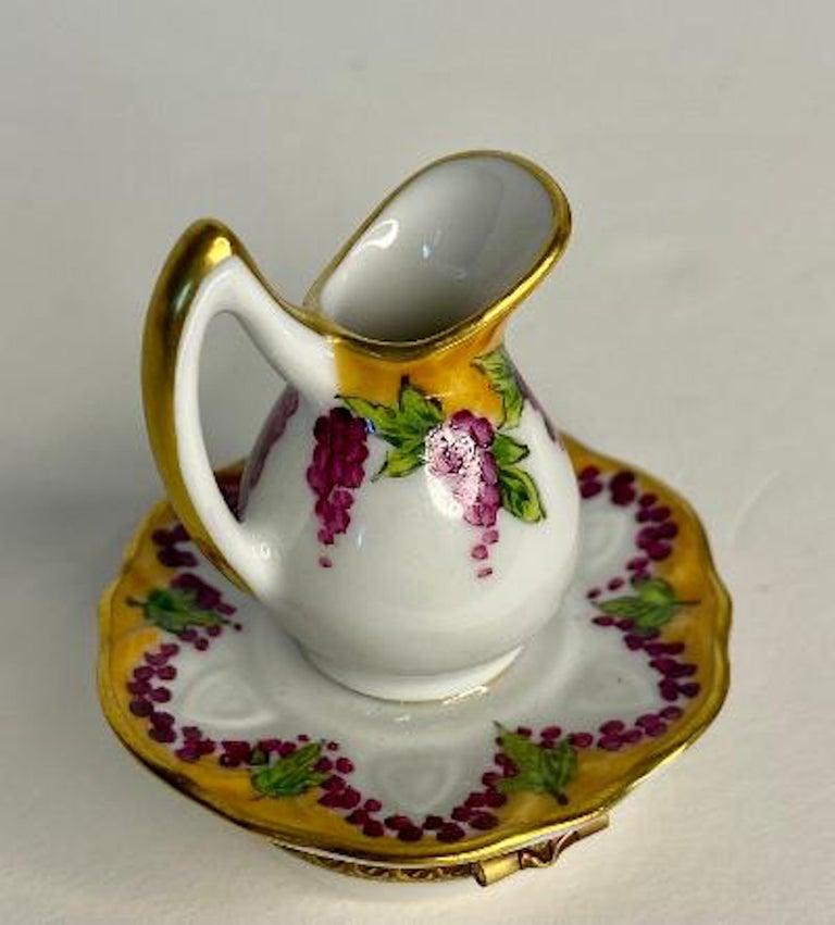 20th Century Delightful Limoges France Hand Painted Vin De Paris Wine Pitcher Porcelain Box For Sale