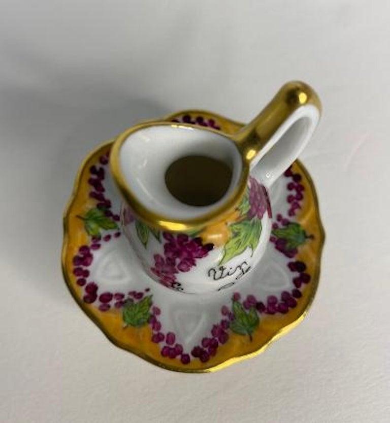 Delightful Limoges France Hand Painted Vin De Paris Wine Pitcher Porcelain Box For Sale 1