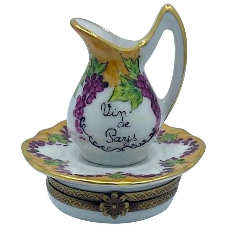 Delightful Limoges France Hand Painted Vin De Paris Wine Pitcher Porcelain Box For Sale