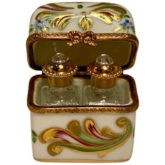 Delightful Limoges France Peint Main Porcelain Box and Two Perfume Bottle Trio