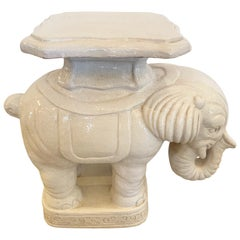 Delightful Terracotta Glazed Elephant End Side Table