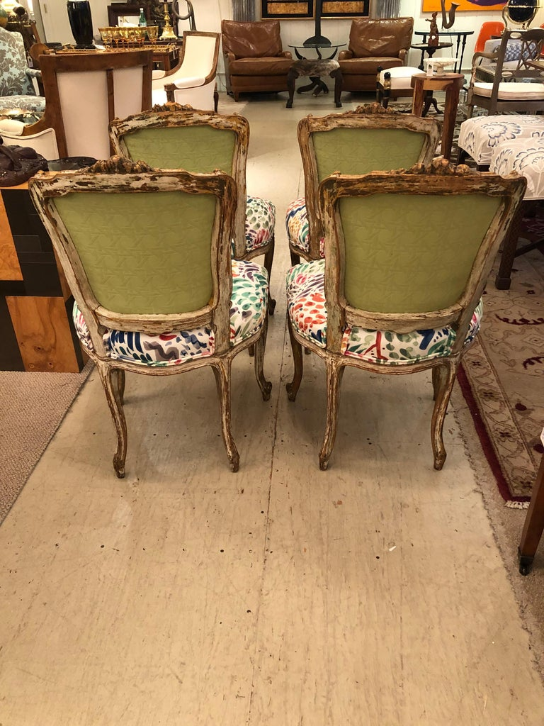 19th Century Delightful Updated Set of 4 Louis XVI French Painted Wood Dining Chairs For Sale