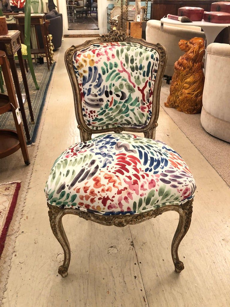 Upholstery Delightful Updated Set of 4 Louis XVI French Painted Wood Dining Chairs For Sale
