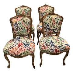 Delightful Updated Set of 4 Louis XVI French Painted Wood Dining Chairs