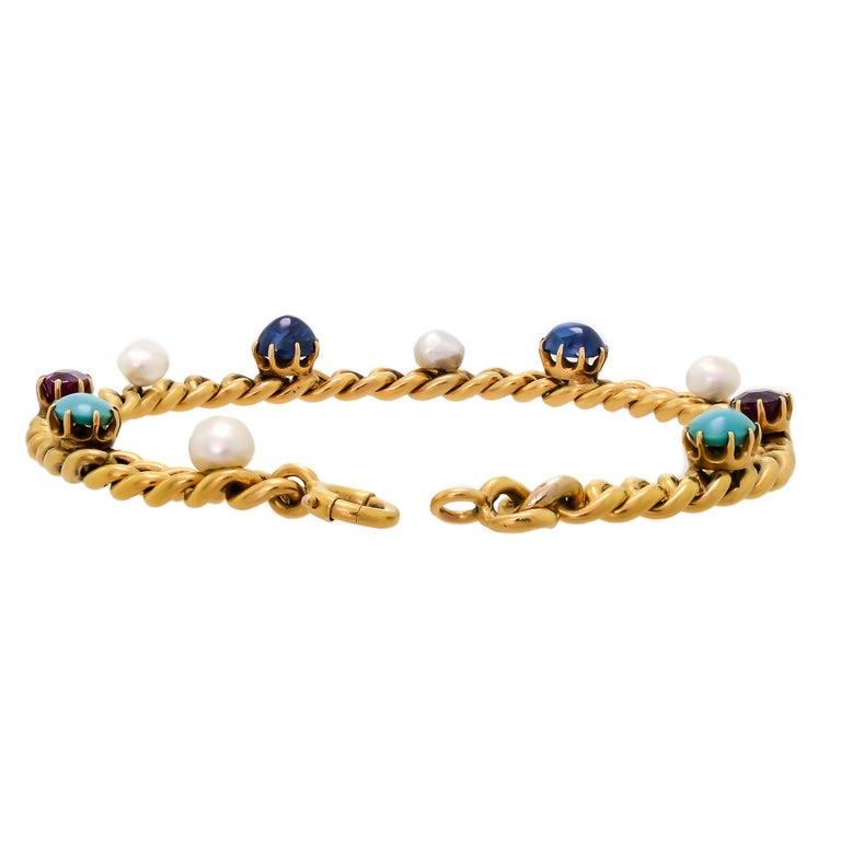 Women's Delightful Victorian 18 Karat Yellow Gold Curb-Link, Gem-Set Bracelet For Sale