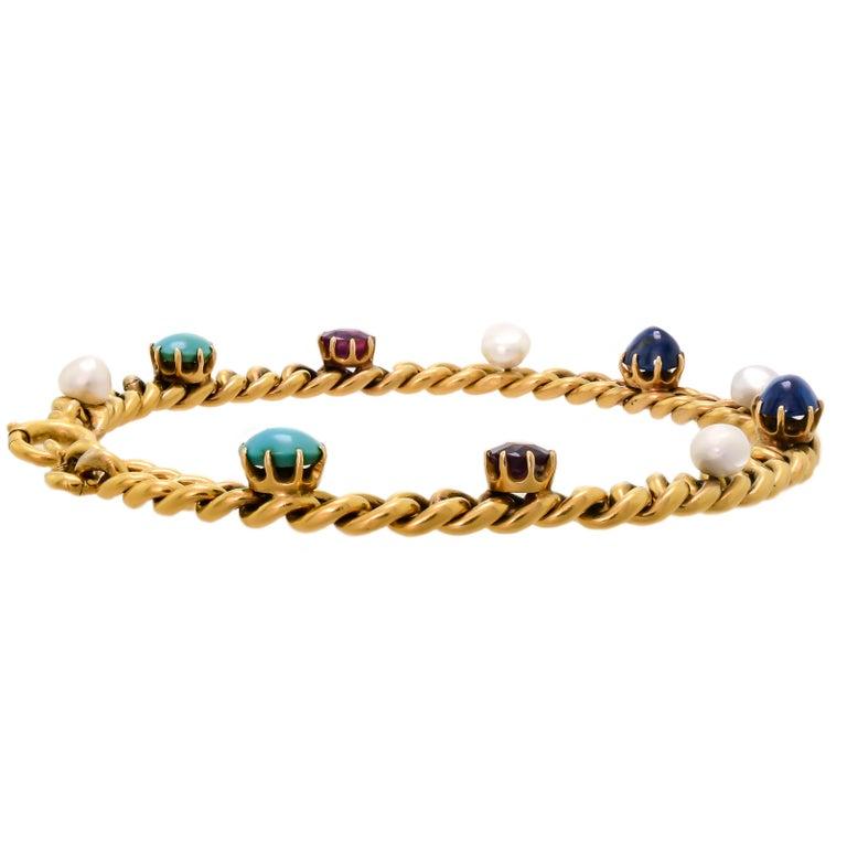 Delightful Victorian 18 Karat Yellow Gold Curb-Link, Gem-Set Bracelet For Sale 1