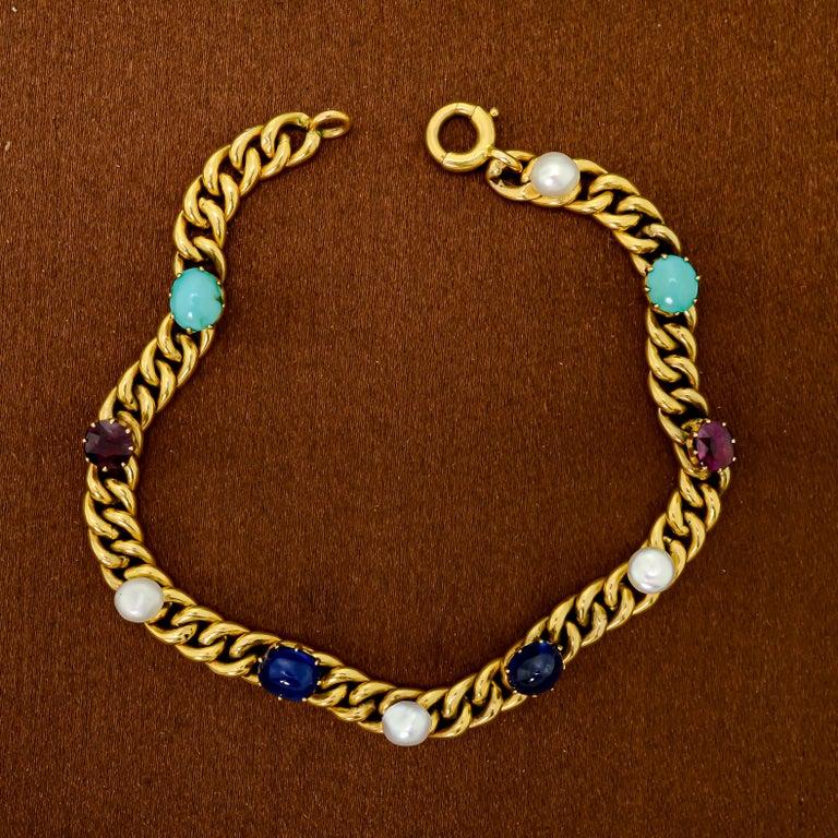 Delightful Victorian 18 Karat Yellow Gold Curb-Link, Gem-Set Bracelet For Sale 2