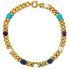 Delightful Victorian 18 Karat Yellow Gold Curb-Link, Gem-Set Bracelet