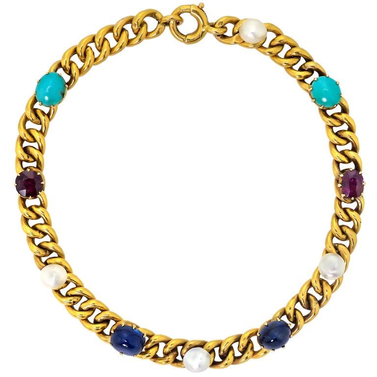 Delightful Victorian 18 Karat Yellow Gold Curb-Link, Gem-Set Bracelet For Sale