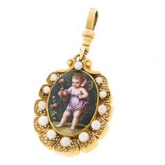 Delightful Victorian Enameled Purple Fairy Pin Pendant in Gold