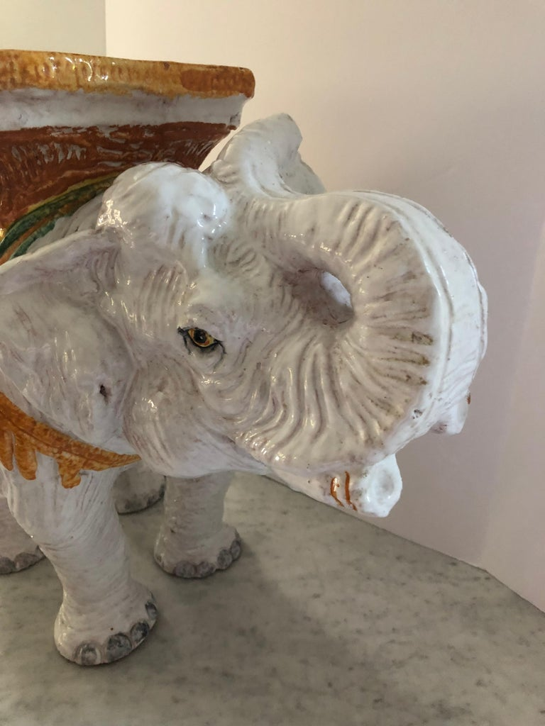 Italian Delightful Vintage Elephant Garden Seat Side or End Table For Sale