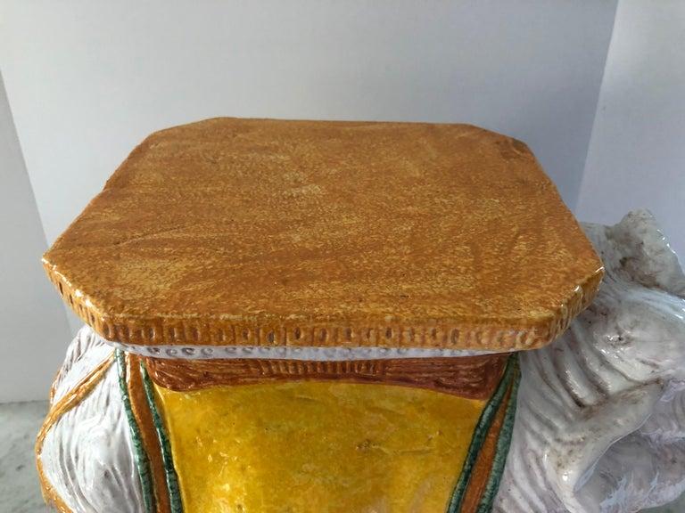 Ceramic Delightful Vintage Elephant Garden Seat Side or End Table For Sale