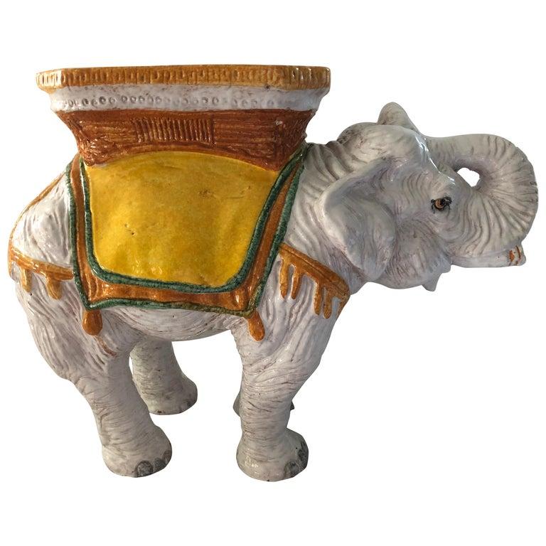 Delightful Vintage Elephant Garden Seat Side or End Table For Sale