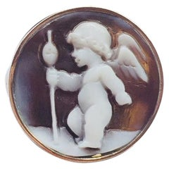 Delightful Winged Cherub with Staff Cameo Rose Gold Sterling Silver Ring