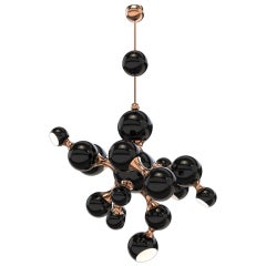 Atomic Pendant Light in Black with Copper Detail