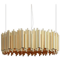 Brubeck Round Chandelier in Brass with Steel Wire