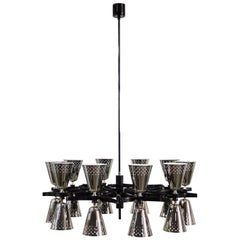 Charles Pendant Light in Black with Silver Shades