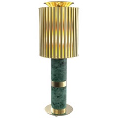 Delightfull Donna Table Light in Brass with Green Marble Base