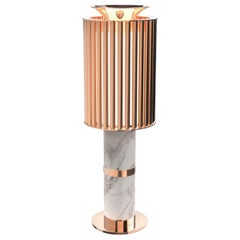 Delightfull Donna Table Light in Copper with White Marble Base