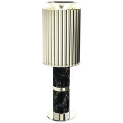 Delightfull Donna Table Light in Silver with Black Marble Base