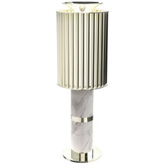 Delightfull Donna Table Light in Silver with White Marble Base