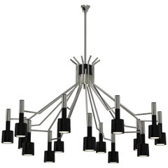 Ella Round Chandelier in Silver with Black Shades
