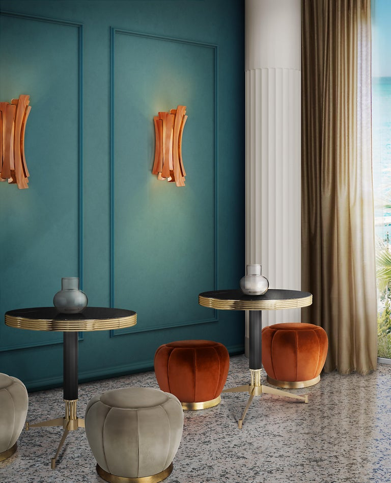 Etta Wall Light in Brass with Copper-Plated Finish In New Condition For Sale In New York, NY