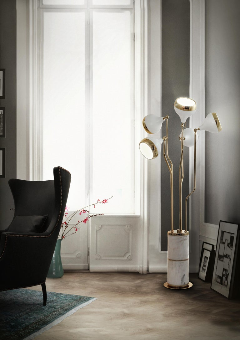 Hanna Floor Lamp in White and Copper with Marble Base 6