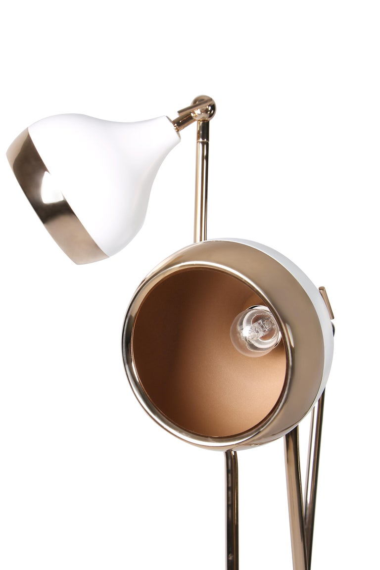 Hanna Floor Lamp in White and Copper with Marble Base 2