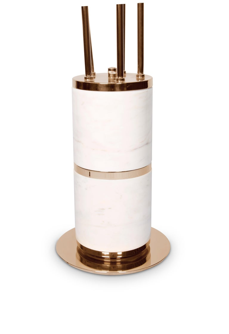 Hanna Floor Lamp in White and Copper with Marble Base 4