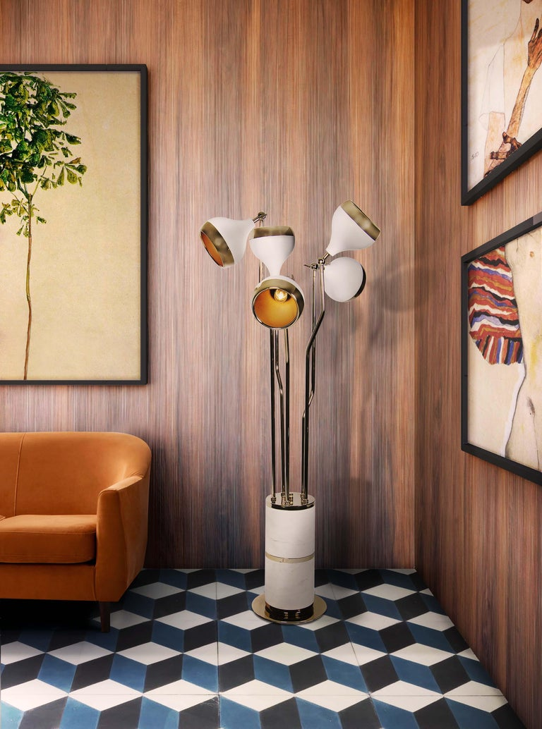 Hanna Floor Lamp in White and Copper with Marble Base 5