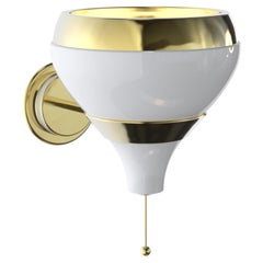 Hanna Wall Light with White and Brass Finish
