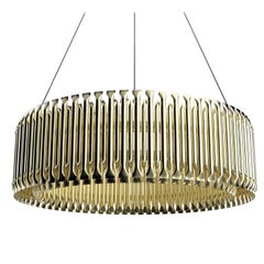 Matheny Round Pendant Light in Brass