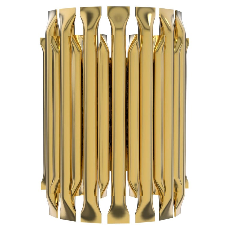 Matheny Small Wall Light with Brass Finish For Sale
