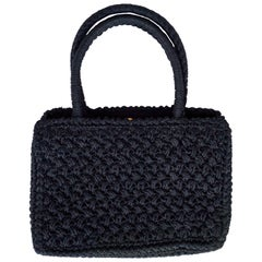 Delill Black Woven Raffia Handbag, with a Gold Tone Clasp, Made in Italy