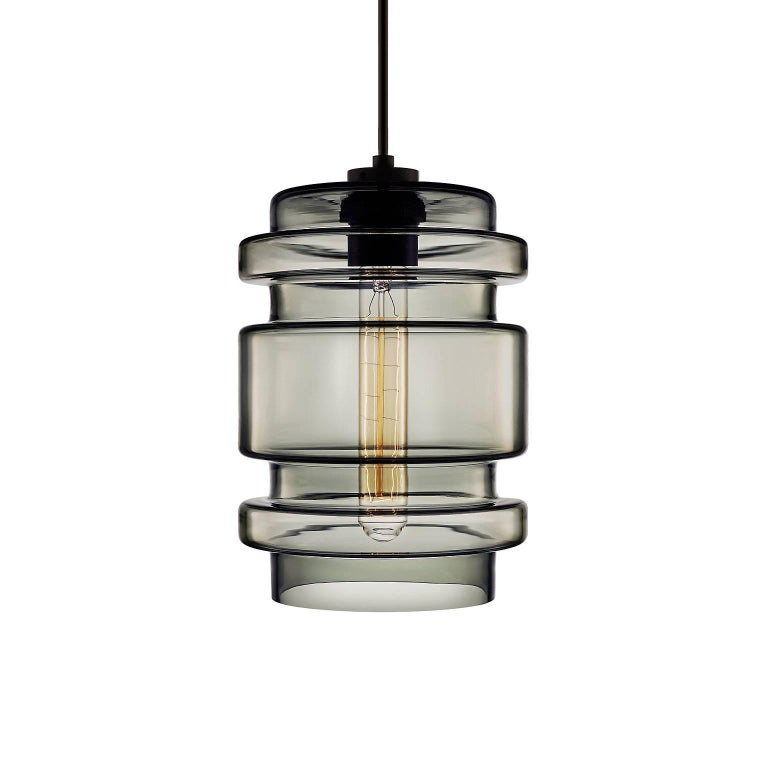 American Delinea Crystal Handblown Modern Glass Pendant Light, Made in the USA For Sale