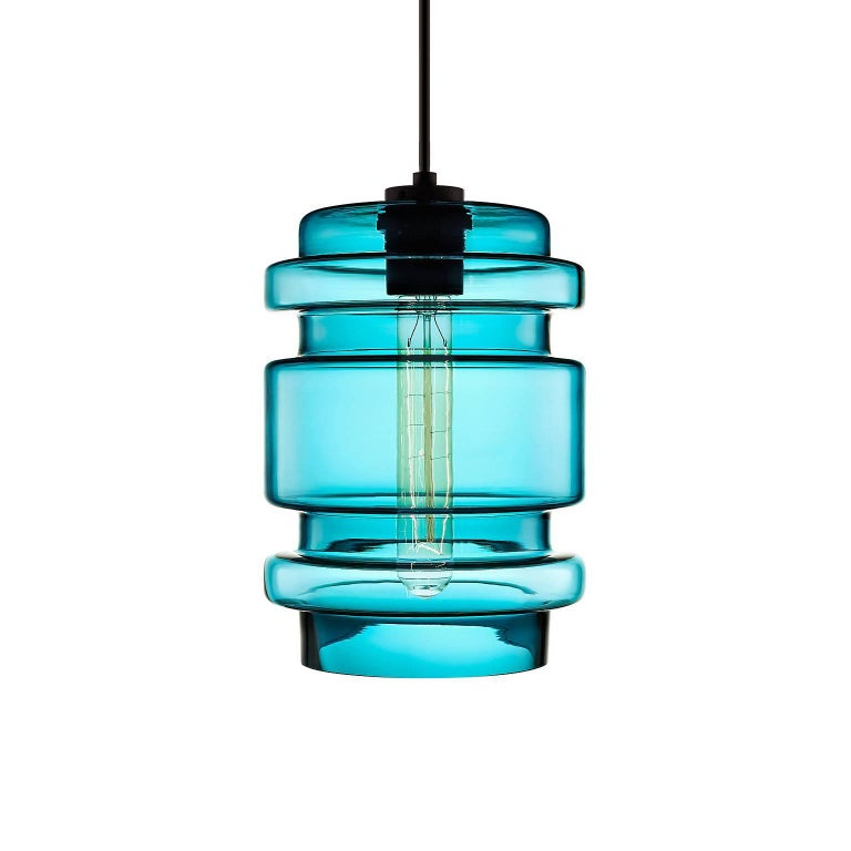 Delinea Crystal Handblown Modern Glass Pendant Light, Made in the USA In New Condition For Sale In Beacon, NY