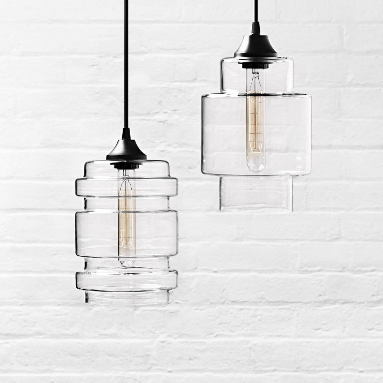 Contemporary Delinea Crystal Handblown Modern Glass Pendant Light, Made in the USA For Sale
