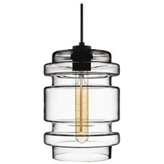 Delinea Crystal Handblown Modern Glass Pendant Light, Made in the USA