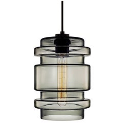 Delinea Gray Handblown Modern Glass Pendant Light, Made in the USA