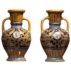 Della Robbia Italian Colored Majolica Pair of Vases
