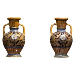 Della Robbia Mid-20th Century Colored Majolica Italian Pair of Vases, 1940