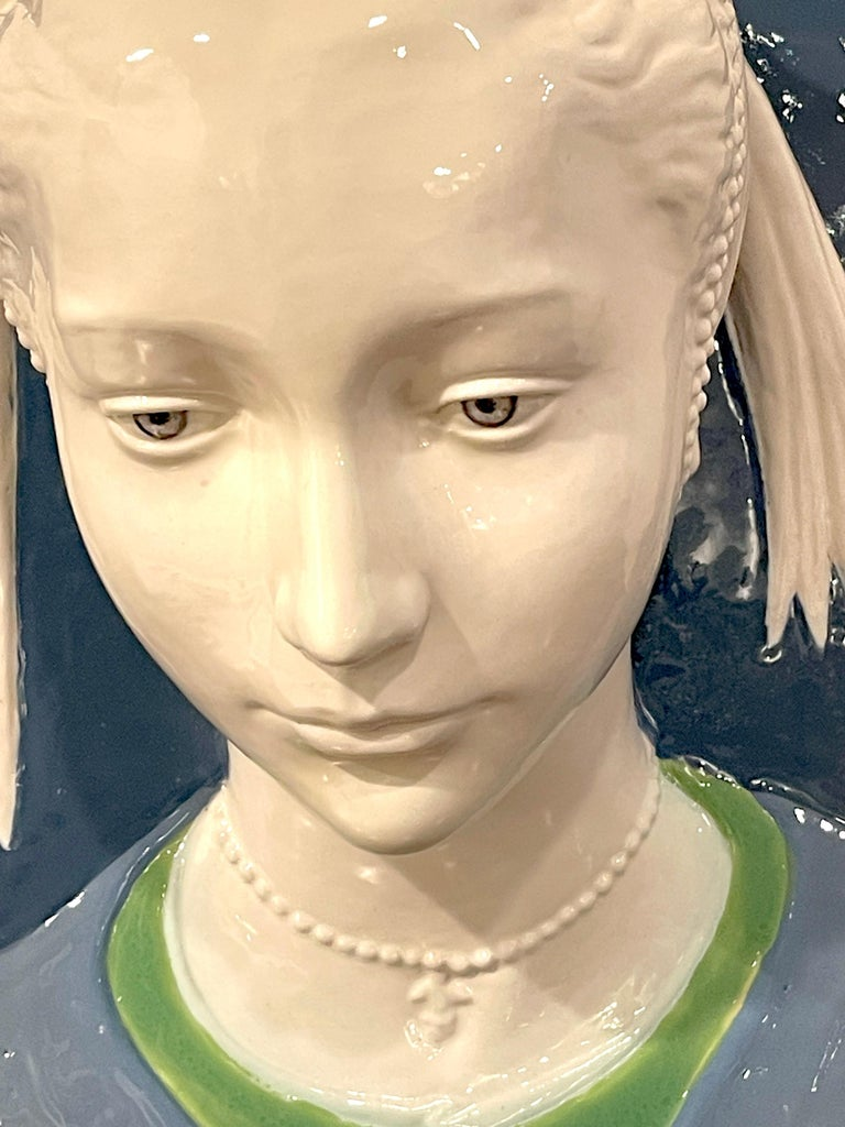 Italian Della Robbia Style Sculpted Portrait Plaque of Jeweled Maiden, by Cantagalli For Sale