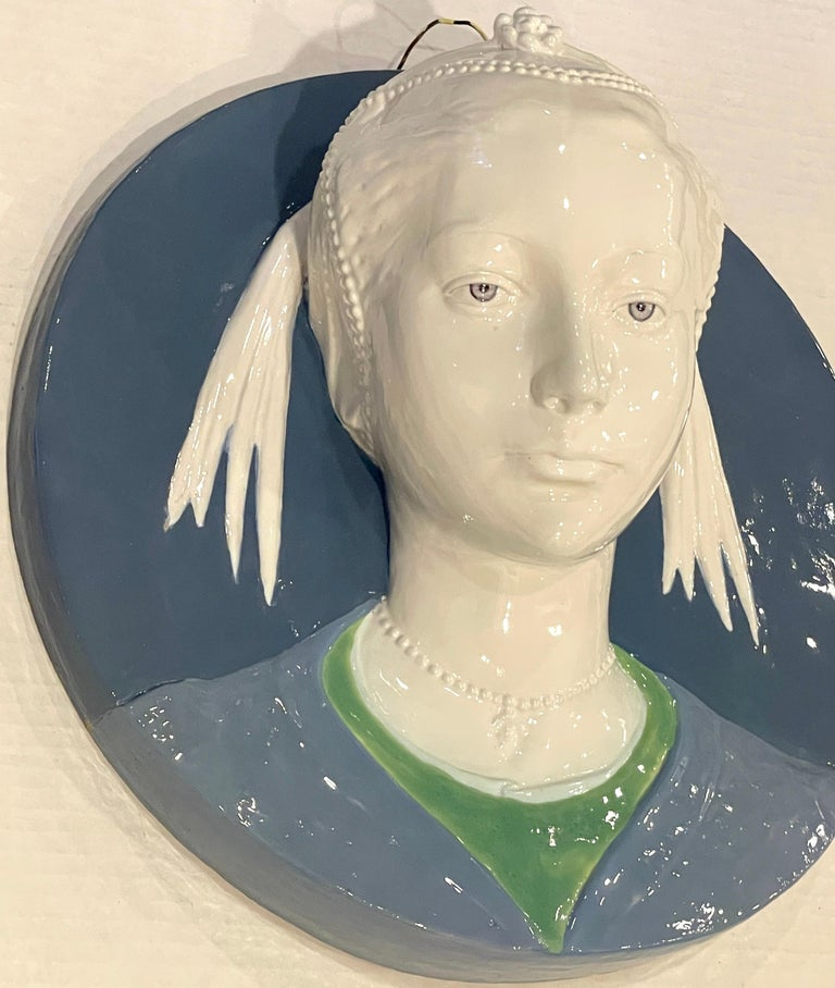 Della Robbia Style Sculpted Portrait Plaque of Jeweled Maiden, by Cantagalli In Good Condition For Sale In West Palm Beach, FL