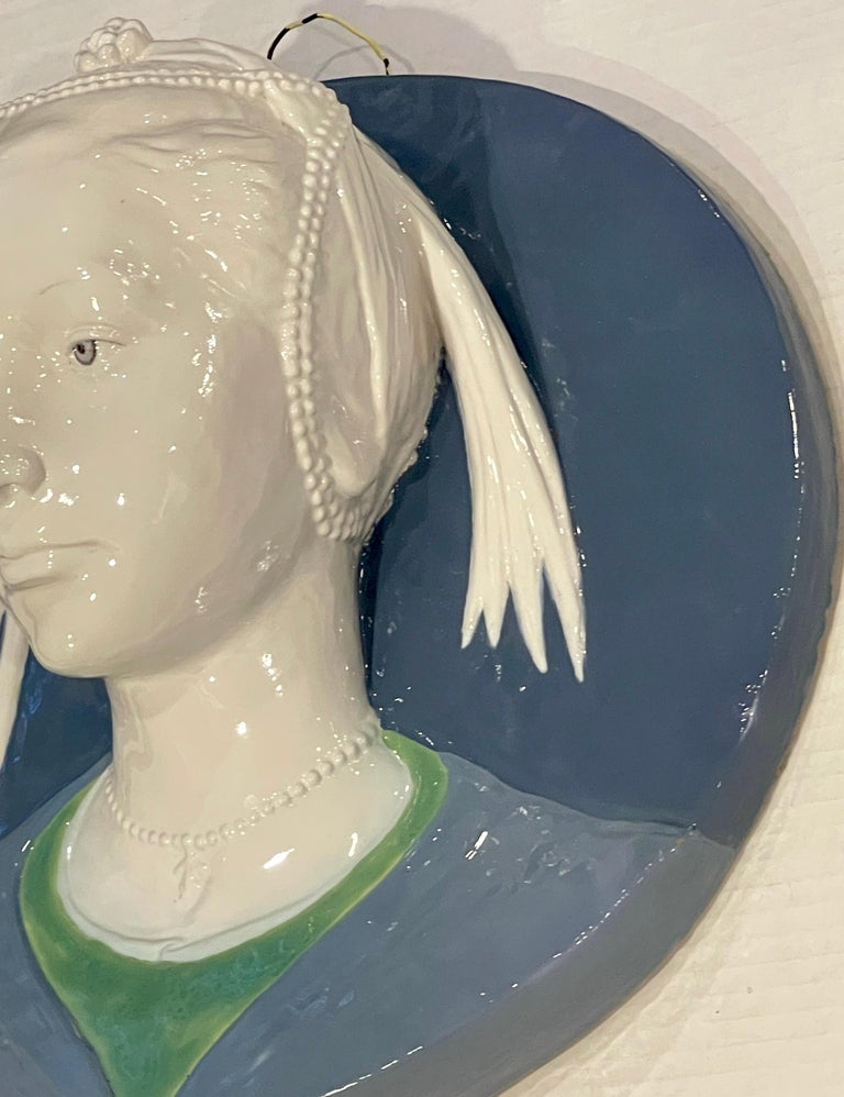 19th Century Della Robbia Style Sculpted Portrait Plaque of Jeweled Maiden, by Cantagalli For Sale